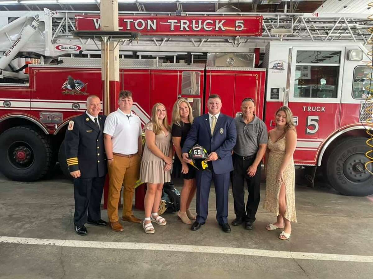 Sam Guttman, a retired United States Marine Corps corporal, EMT and former volunteer fireman, was sworn in as the newest member of the Wilton Fire Department.