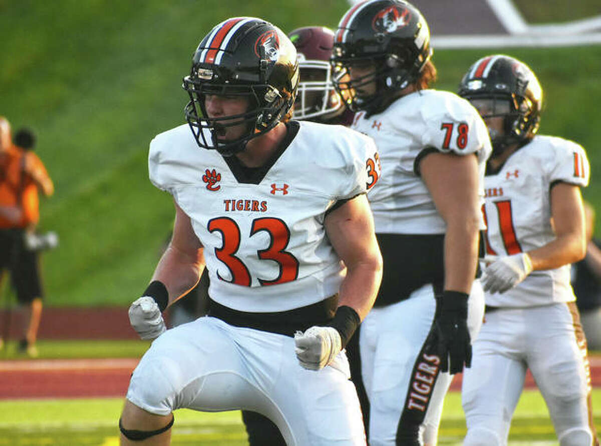 Edwardsville linebacker Dalton Brown is fired up after making a tackle in the Week 1 game at De Smet.