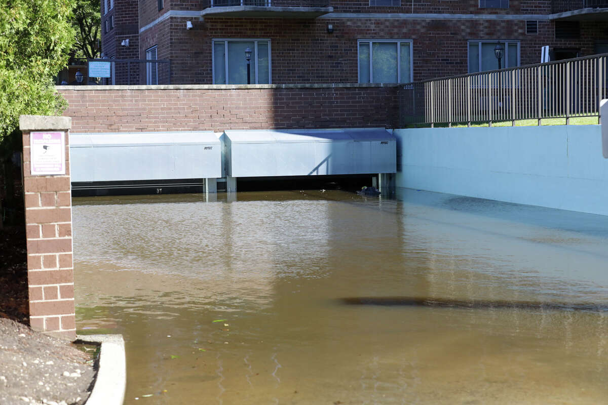 A parking garage on Washington Boulevard in Stamfordafter remnants of Ida hit Connecticut overnight on Thursday, Sept. 2, 2021.