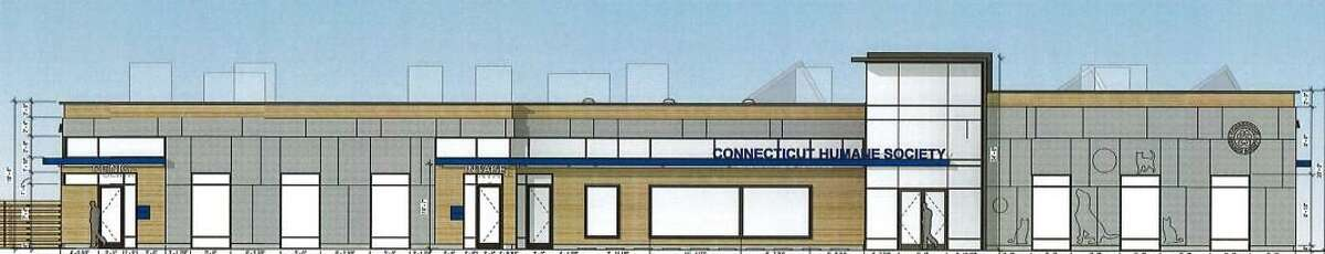Renderings of the Connecticut Humane Society regional headquarters proposed for Danbury Road in Wilton.