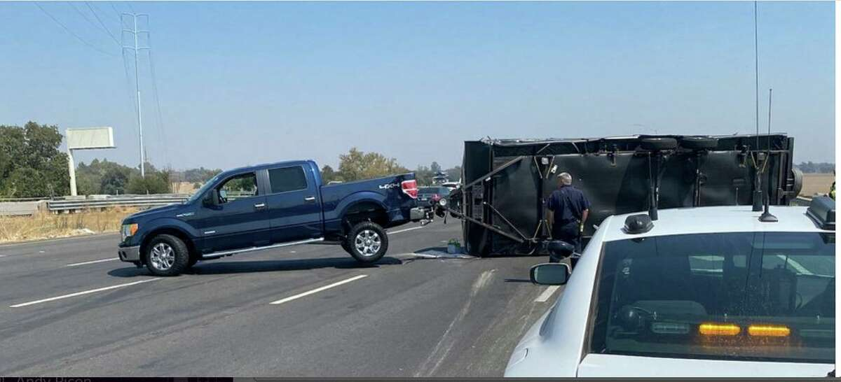 An overturned trailer on Interstate 80 closed eastbound lanes at Old Davis RoadLanes are closed on Interstate 80 eastbound at Old Davis Road, outside UC Davis.