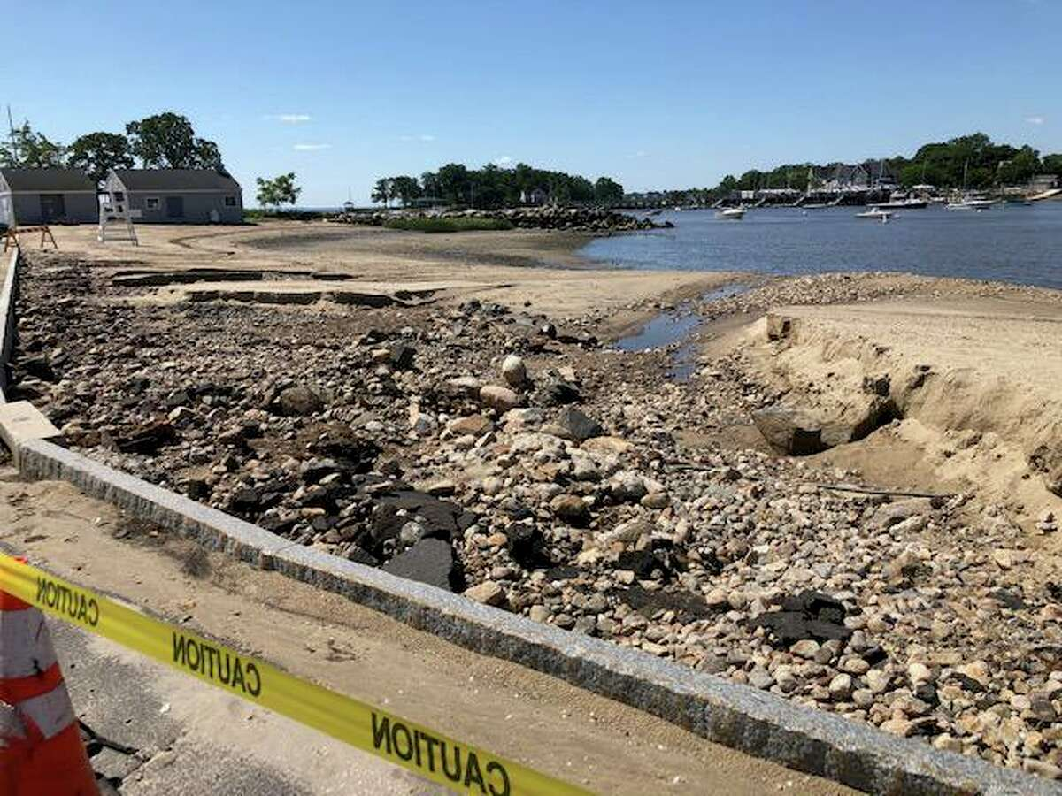 Pear Tree Point Beach in Darien after Ida passed through on Sept. 2, 2021.