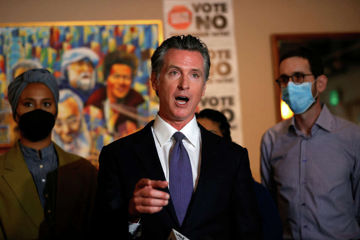"""California Gov. Gavin Newsom speaks during a news conference at Manny's on August 13, 2021 in San Francisco, California. California Gov. Gavin Newsom kicked off his """"Say No"""" to recall campaign as he prepares to face a recall election on September 14."""