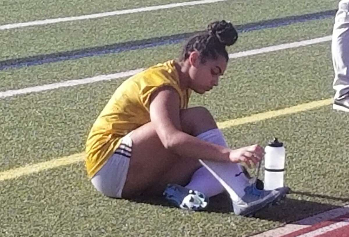 Mercy goalkeeper Melina Ford during halftime of Mercy's preseason scrimmage with Southington at Fontana Field on Aug. 31.