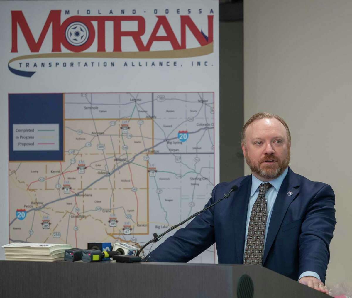 Trey Crutcher, MOTRAN chairman, talks about how I-14 will help relieve traffic and create jobs 09/02/2021 at The Petroleum Museum. Tim Fischer/Reporter-Telegram