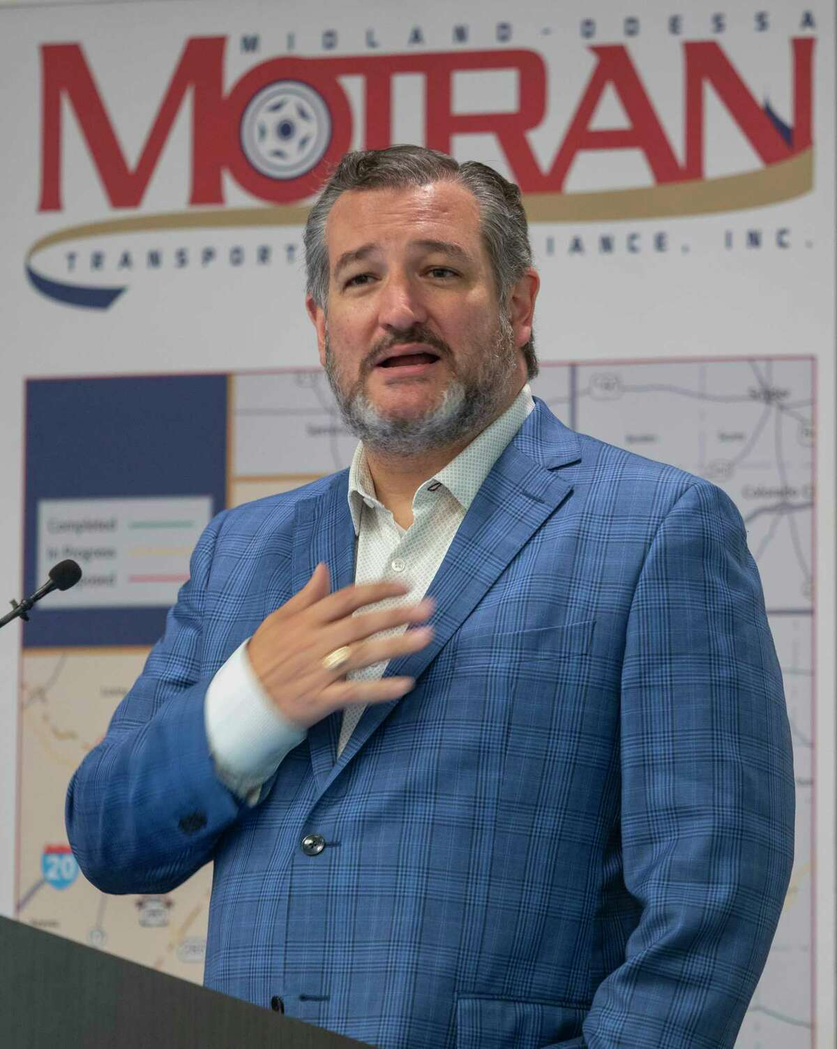 US Senator Ted Cruz speaks 09/02/2021 about working on a bipartisan deal with Senate democrats to pass the infrastructure bill for I-14, during a press conference at The Petroleum Museum. Tim Fischer/Reporter-Telegram
