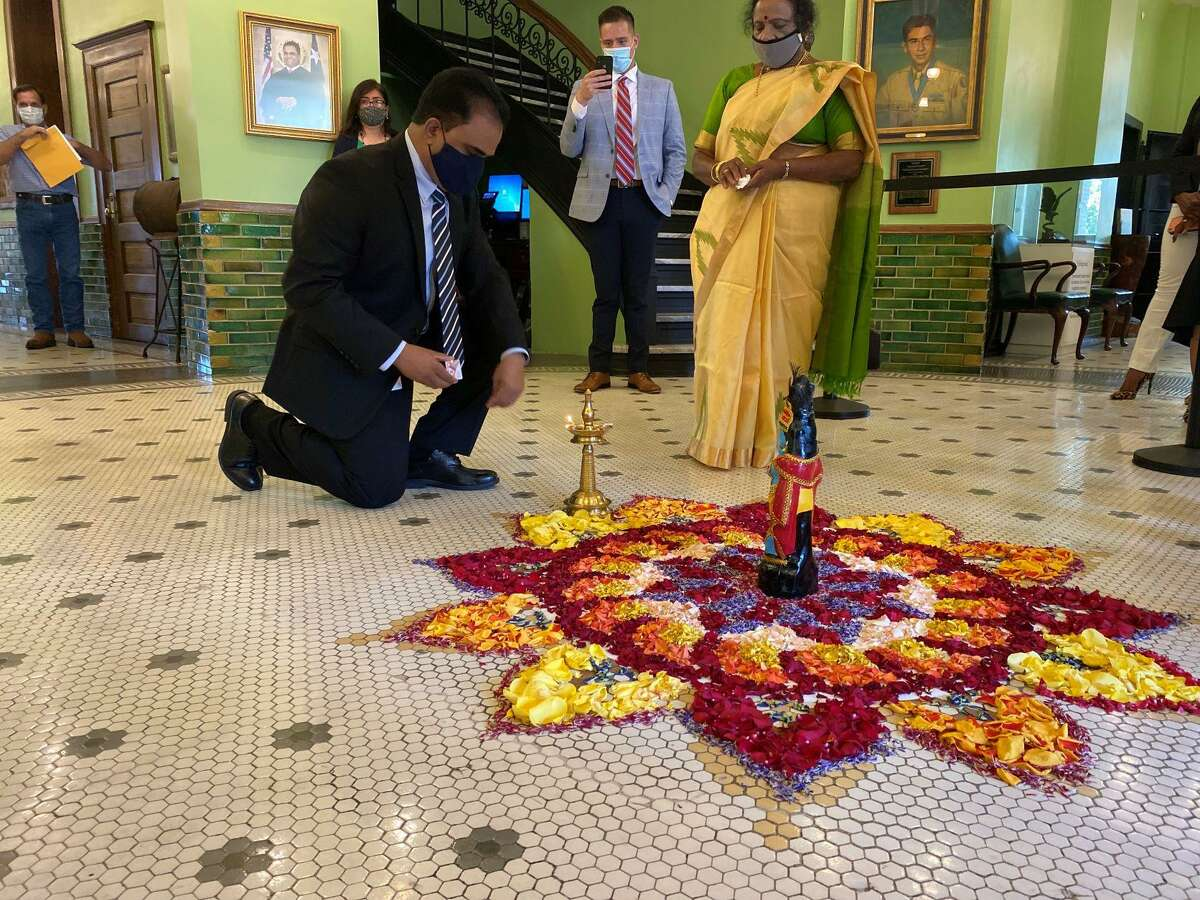"""Fort Bend County Judge KP George hosts the first """"Onam"""" celebration at Fort Bend County Courthouse."""