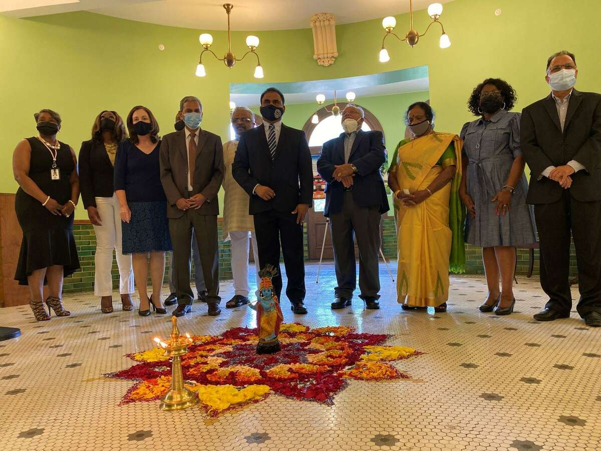"""Fort Bend County Judge KP George welcomed residents to the Fort Bend County Courthouse as he hosted first """"Onam"""" celebration."""