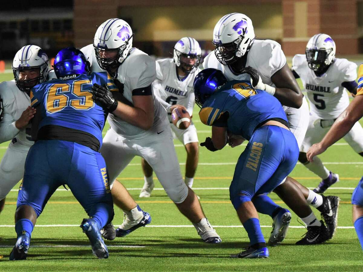 Sophmore Humble offensive lineman Ayden Alvarez played in his first varsity football game to open the 2021-2022 season