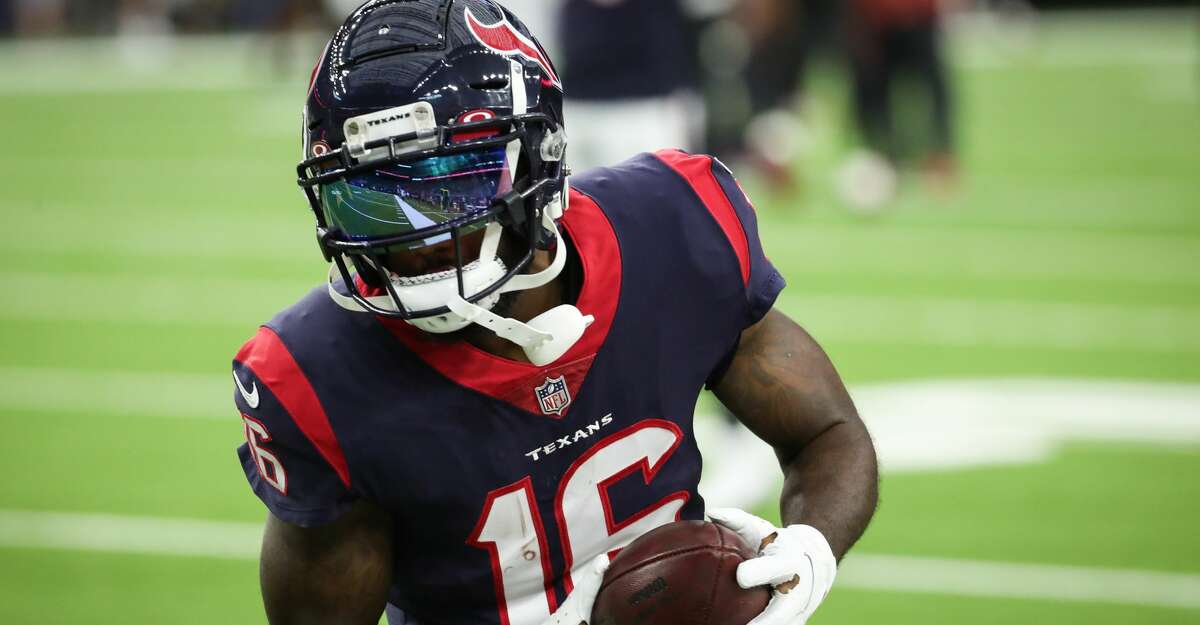 Houston Texans wide receiver Keke Coutee makes a catch while warming up before an NFL pre-season football game Saturday, Aug. 28, 2021, in Houston.
