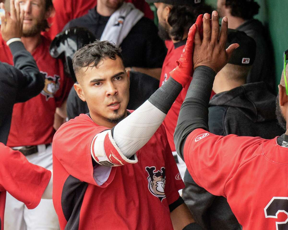 Tri-City ValleyCats third baseman Nelson Molina is congratulated after hitting a home run against the New Jersey Jackals at Joseph L. Bruno Stadium on the Hudson Valley Community College in Troy, N.Y., on Thursday, Sept. 2, 2021.