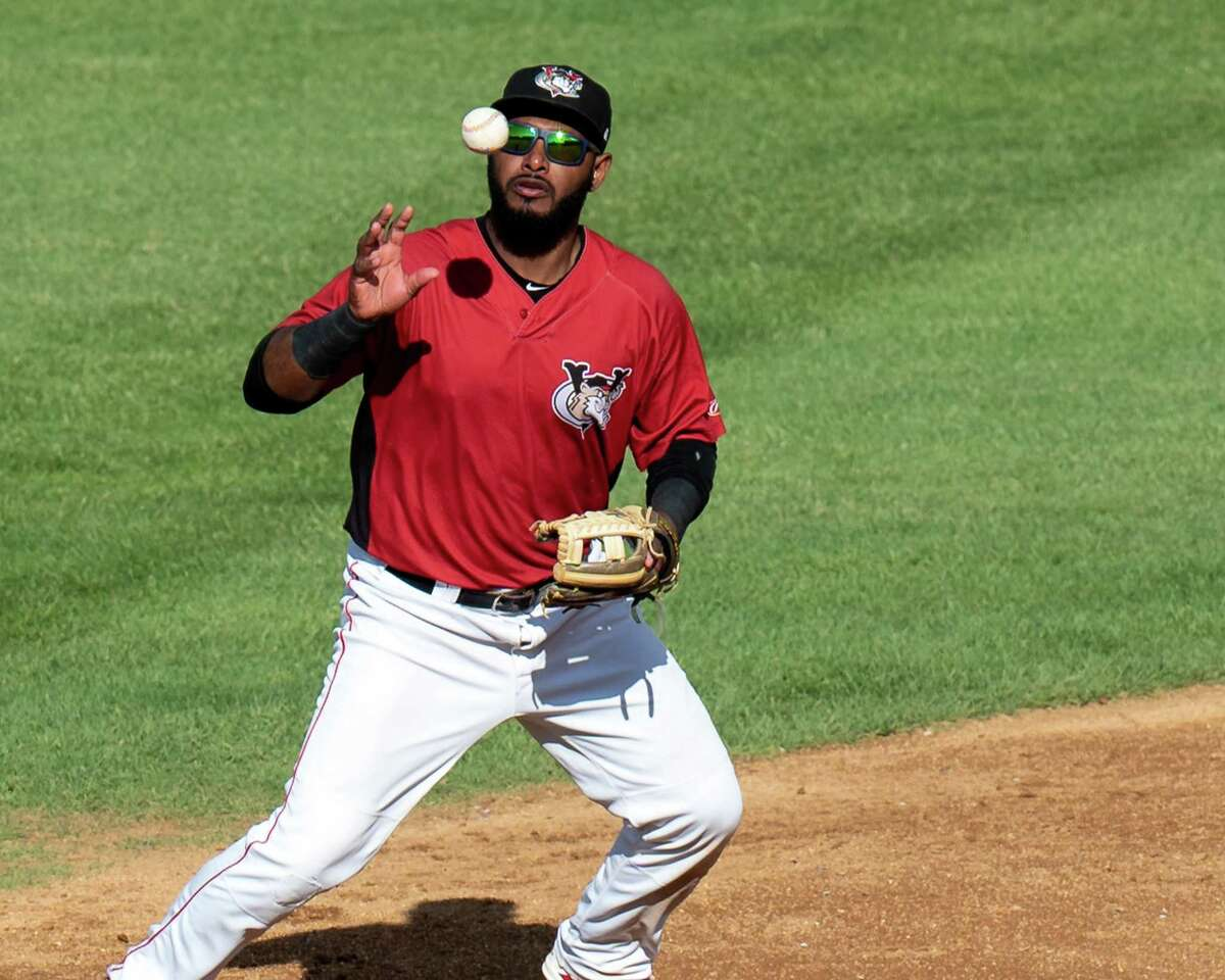 Tri-City ValleyCats shortstop Juan Silverio bobbles the ball but makes the play against the New Jersey Jackals at Joseph L. Bruno Stadium on the Hudson Valley Community College in Troy, N.Y., on Thursday, Sept. 2, 2021.