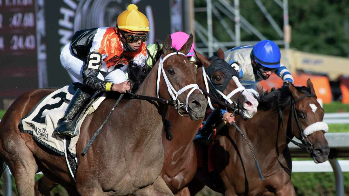 Miss Interpret, with jockey Jose Ortiz aboard, passes the field to win the 17th running of the P. G. Johnson at Saratoga Race Course on Thursday, Sept. 2, 2021, in Saratoga Springs.