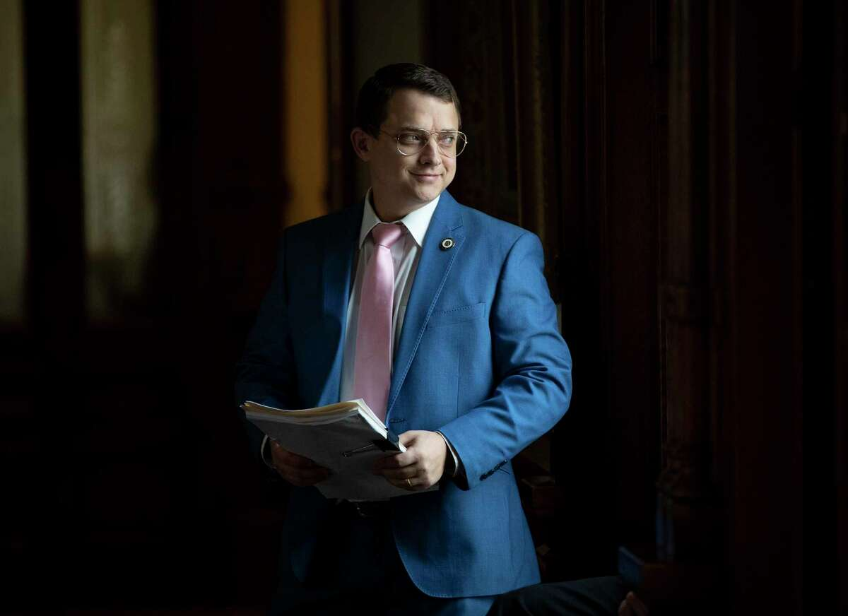 State Rep. Briscoe Cain, R - Deer Park, waits on the House floor for the start of the debate of Senate Bill 7, known as the Election Integrity Protection Act, at the Capitol on Sunday May 30, 2021, in Austin, Texas. (Jay Janner/Austin American-Statesman via AP)