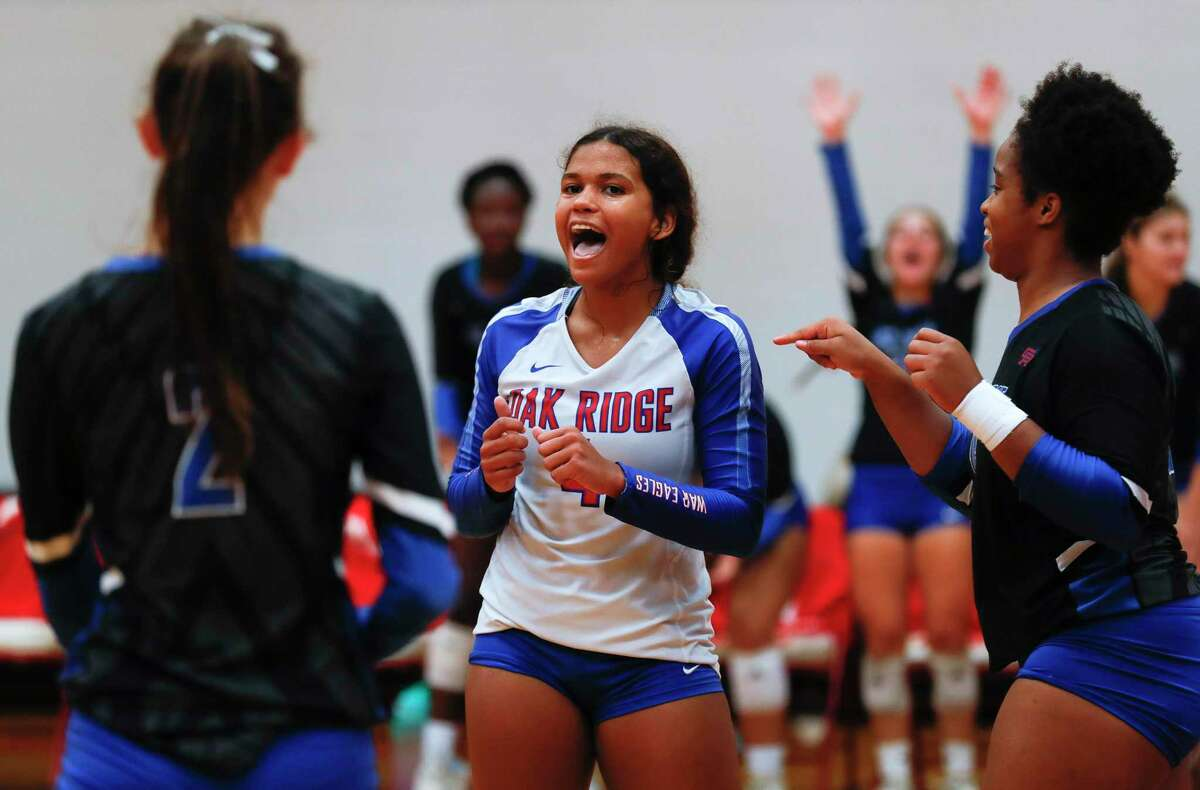 Oak Ridge's Sofia Richmond (4) reacts after a point during a match in the Katy/Cy-Fair Tournament at Katy High School, Friday, Aug. 13, 2021, in Katy.