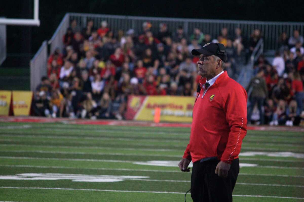 Ferris football coach Tony Annese was back in a familiar position on Thursday. (Pioneer photo/John Raffel)