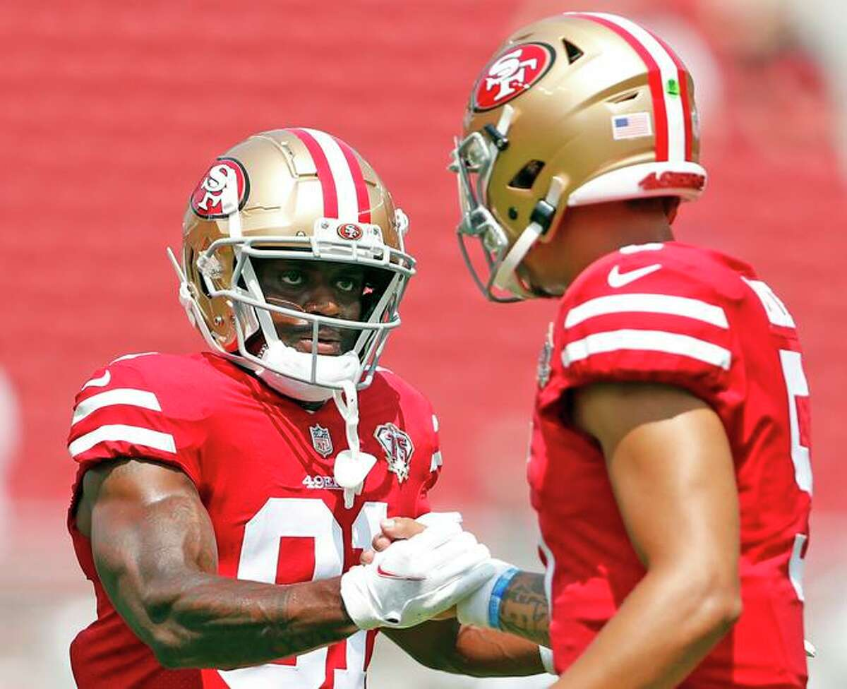 Trent Sherfield (left) finished the preseason with five catches for 156 yards - the sixth-most in the NFL - and had an 80-yard touchdown while playing 52 snaps.