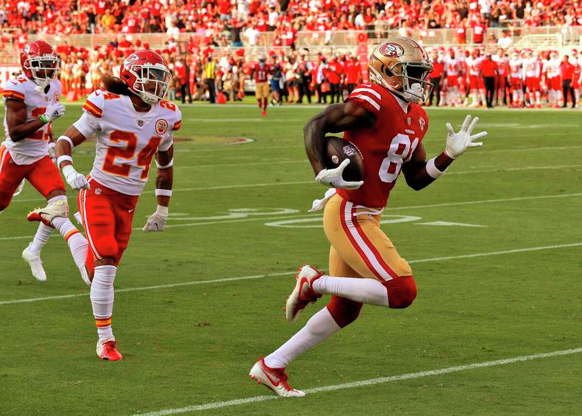 Trent Sherfield runs toward the end zone for his first-quarter touchdown against the Chiefs on Aug. 14.