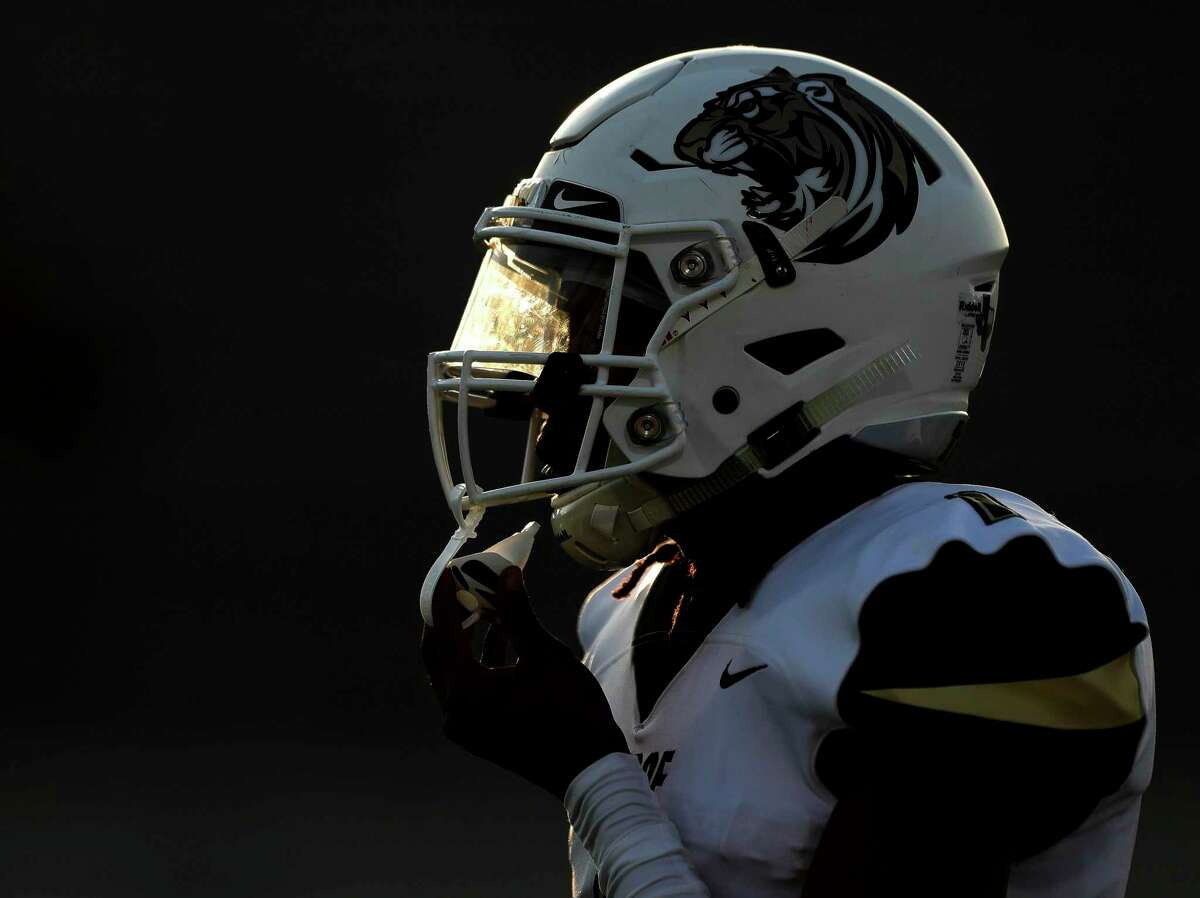Conroe's Thomas Jackson (1) waits to return a kickoff during the first quarter of a non-district high school football game at Turner Stadium, Thursday, Sept. 2, 2021, in Humble.
