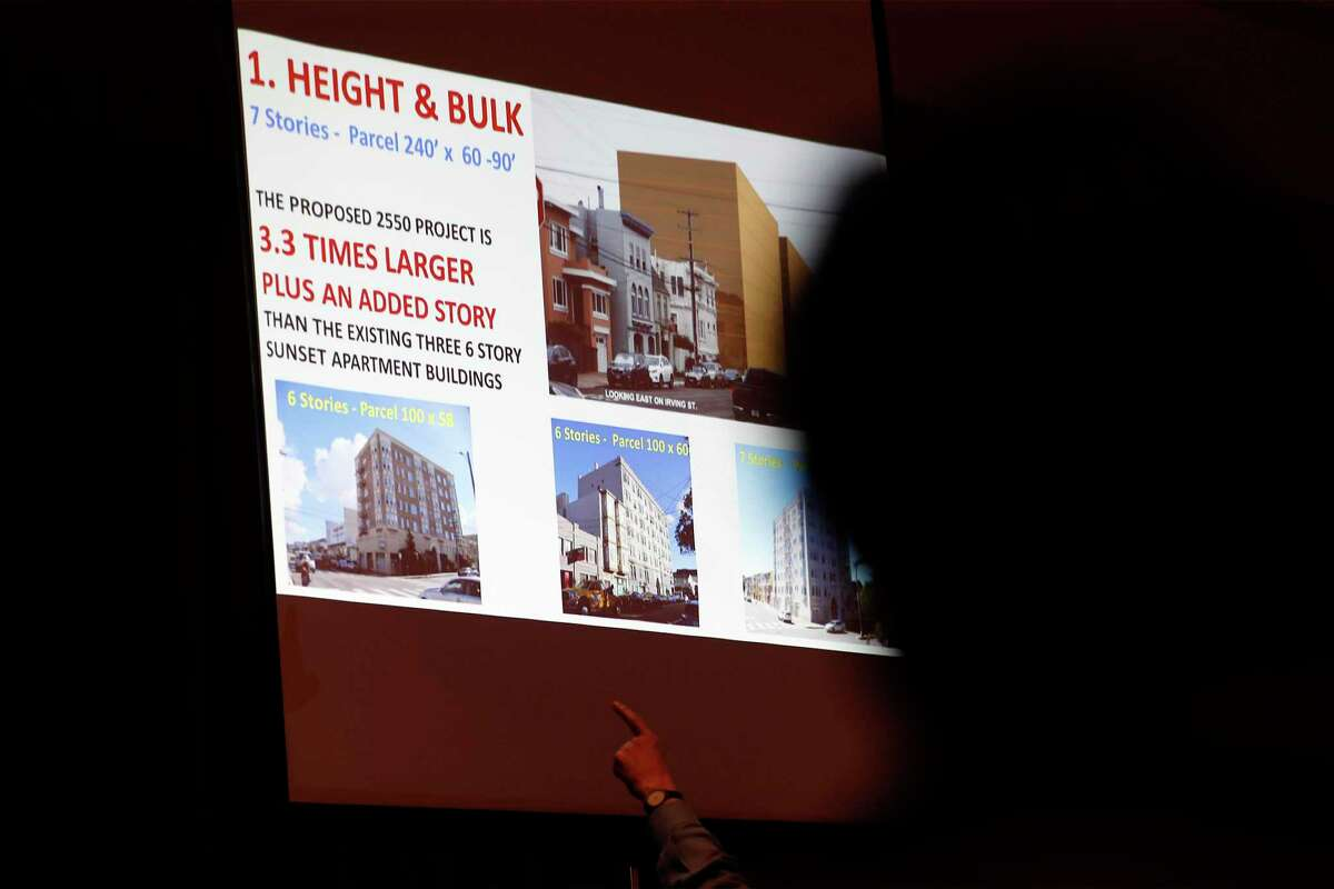 A presenter discusses a plan to build a 7-story affordable housing development at 2550 Irving St. in San Francisco on June 30.