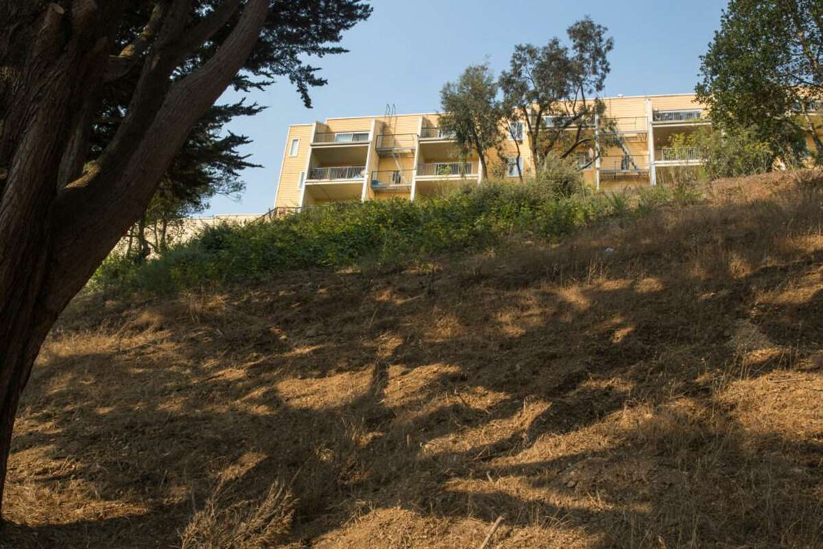 A view of the hillside in Diamond Heights neighborhood where there is a controversial proposal to build about 30 high end homes next to the affordable housing units. In San Francisco, Calif. On Friday, August 27, 2021.