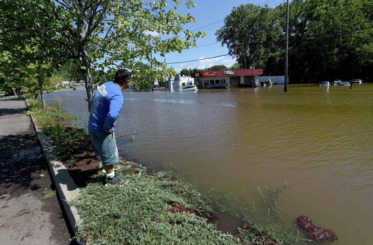 An area of Federal Road in Danbury near Home Depot is under water Thursday morning, Sept. 2, 2021, after heavy rains resulting from Hurricane Ida drenched the area the day before and into the night.