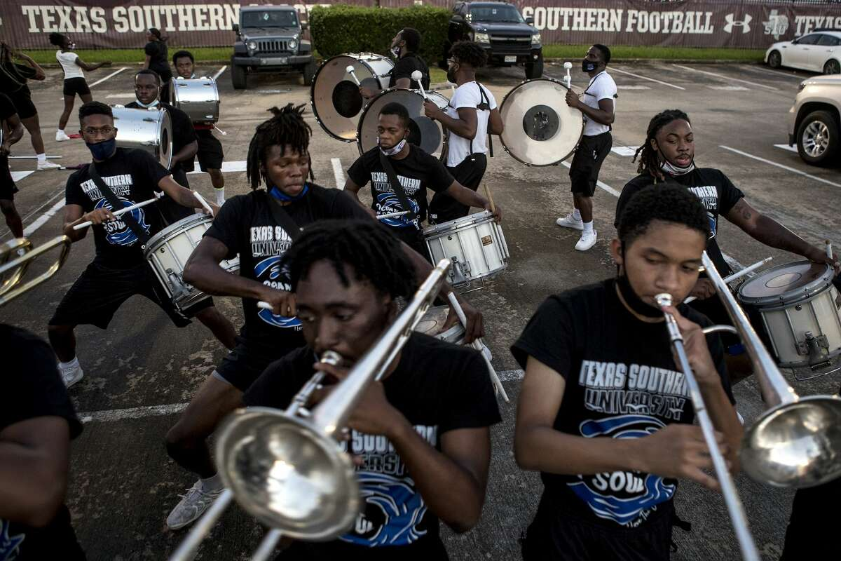 The Ocean of Soul goes through a routine while preparing for the annual Labor Day Classic Tuesday, Aug. 31, 2021 in Houston. The annual Labor Day Classic football game between TSU and rival Prairie View A&M is not the only competition being waged that day. The two HBCU schools also compete at in the battle of the bands -- Ocean of Soul vs. Marching Storm.