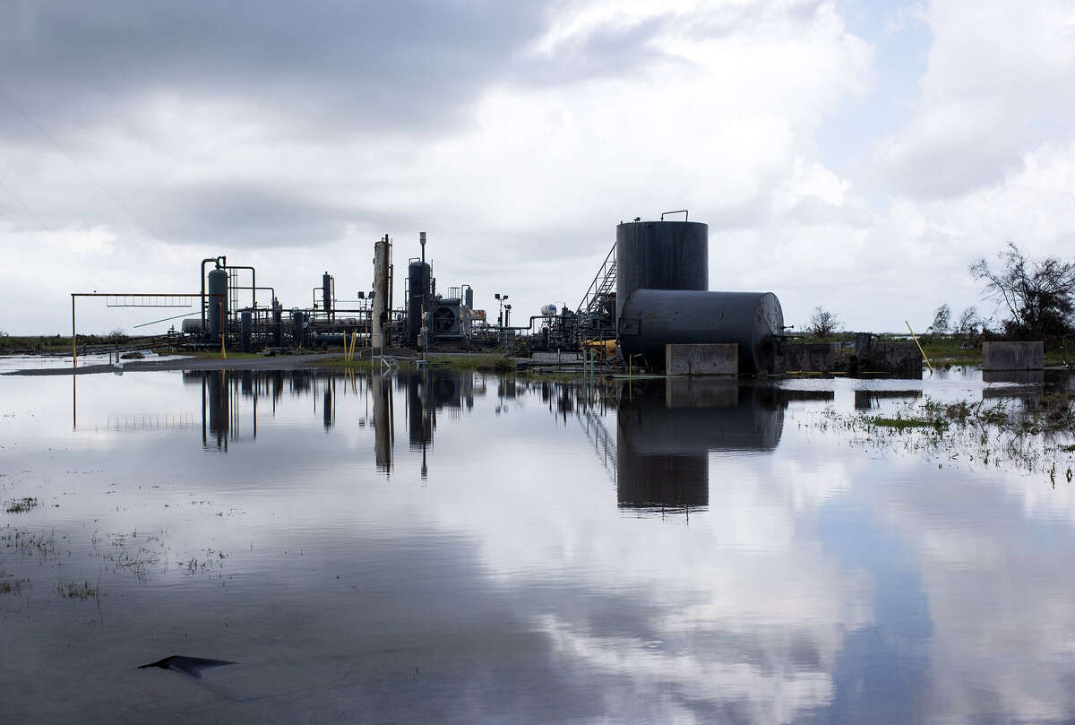 A refinery surrounded by water after Hurricane Ida near Cocodrie, La.