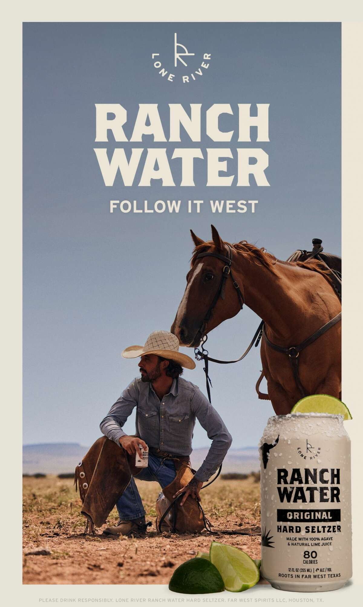 """Lone River Beverage Co. is partnering with Oscar and Grammy award-winning artist and star of """"Yellowstone,"""" Ryan Bingham, to launch its first national campaign """"Follow It West."""" Lone River Beverage Co. founder is a Midland native and started the No. 1 ranch water brand in the U.S."""