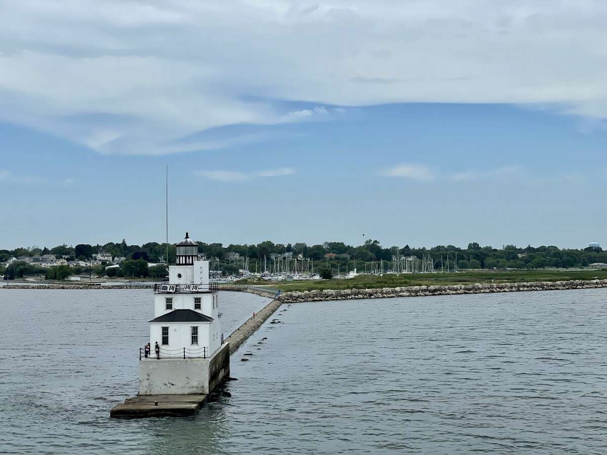 A lighthouse welcomes ships at the harbor entrance in Manitowoc, Wisconsin, taken aboard the S.S. Badger.