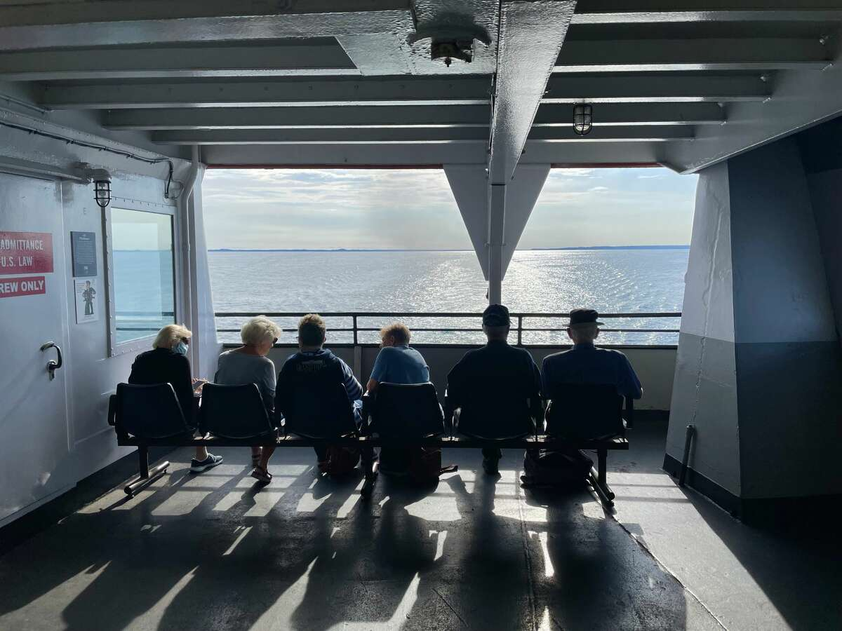 Guests enjoy a break while crossing Lake Michigan aboard the S.S. Badger.