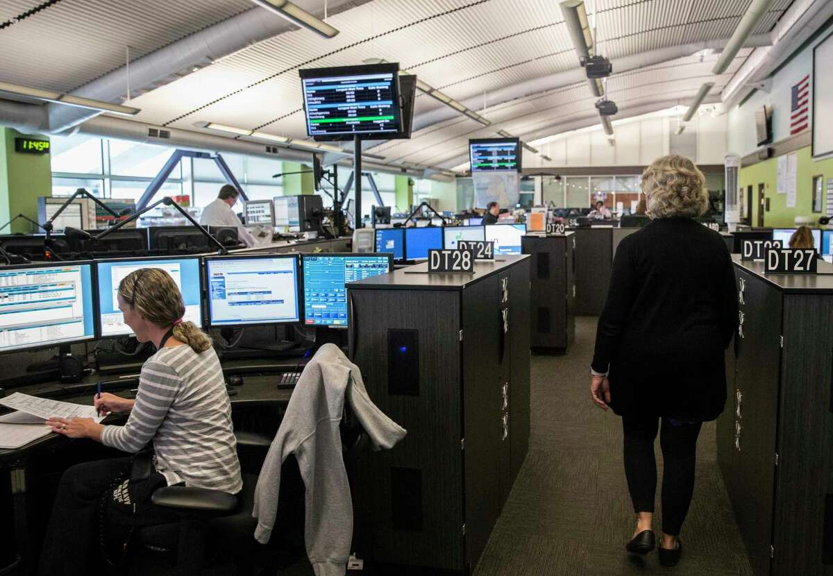 A photo of the 911 dispatch floor at the Department of Emergency Services Management headquarters in San Francisco, Calif.