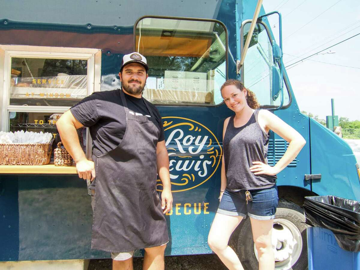 Evan LeRoy, left, and Sawyer Lewis with their LeRoy and Lewis food truck in Austin.