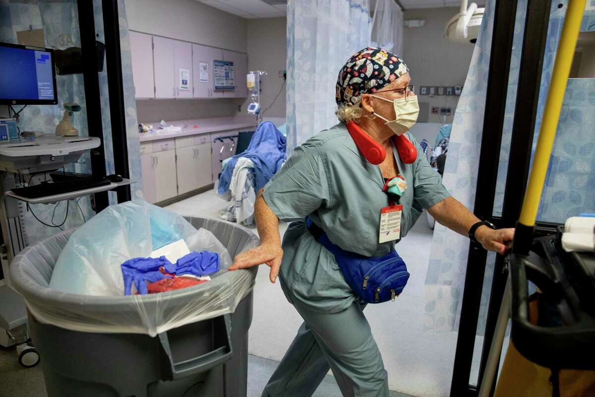 Juli Winters works on the front-lines in the battle against COVID-19, but her role cleaning the rooms and hallways of the Texas Vista Medical Center ER is often overlooked.