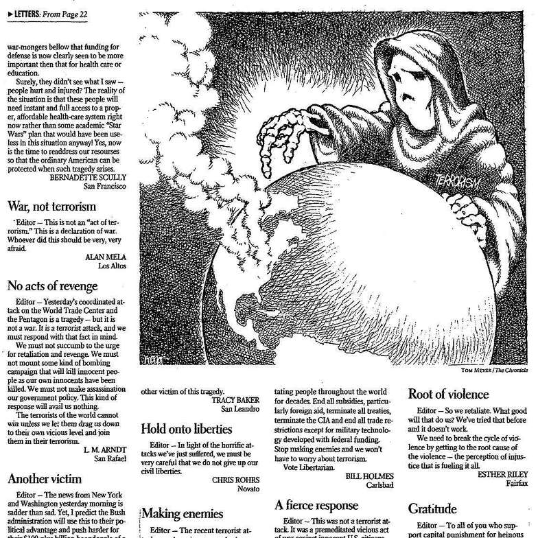 The letters page of the San Francisco Chronicle on Sept. 12, 2001 with an illustration of the figure of Death pointing toward a smoking United States on a globe.