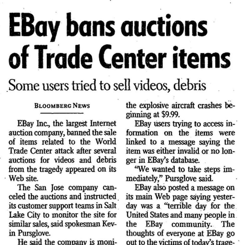 """An article screenshot from the Sept. 12, 2001 edition of The San Francisco Chronicle with the headline """"EBay bans auctions of Trade Center items."""""""