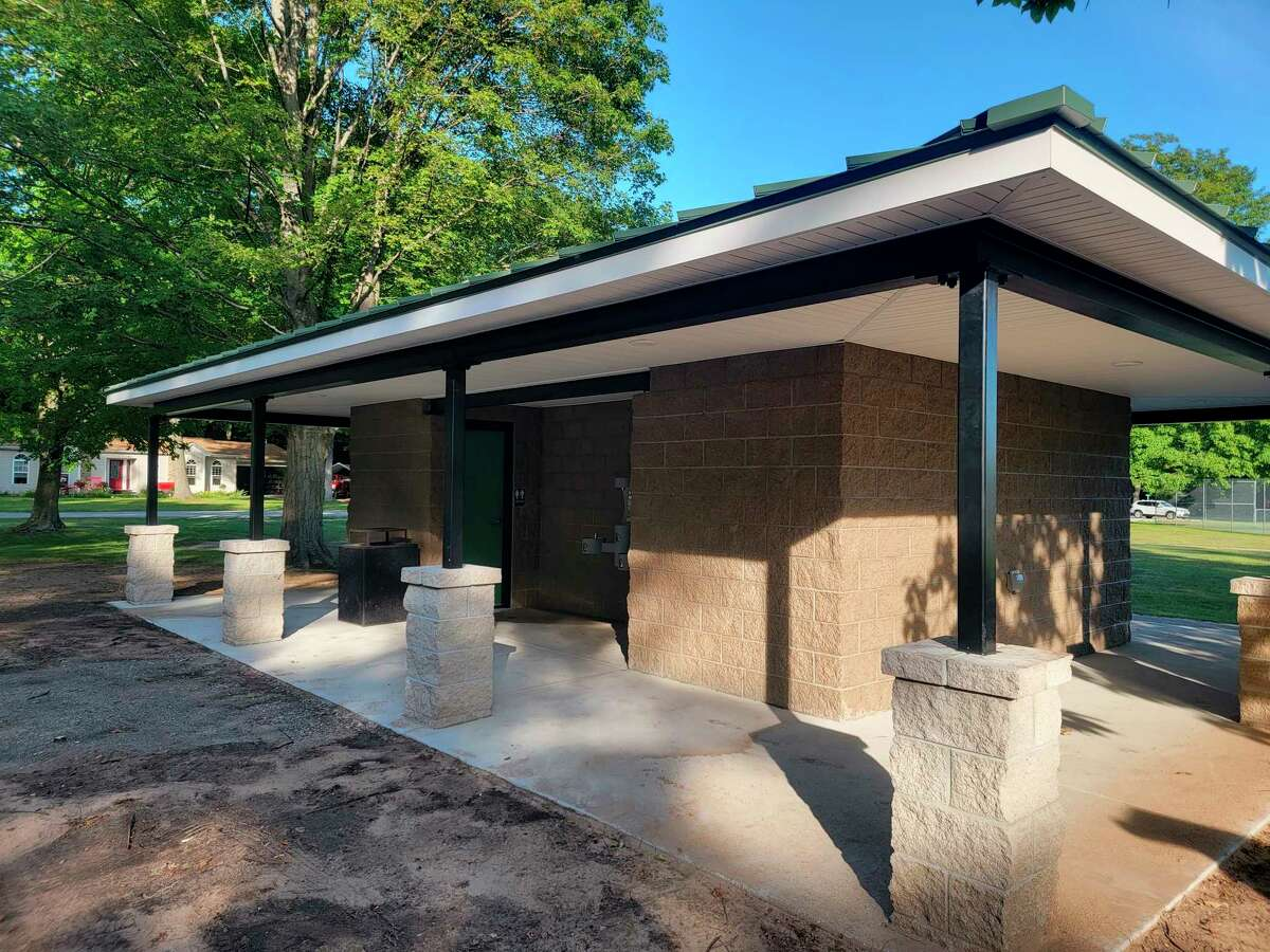 """The bathroom facilities at Market Square Park are open after a year of construction, and feature two unisex """"family"""" units. (Colin Merry/Record Patriot)"""