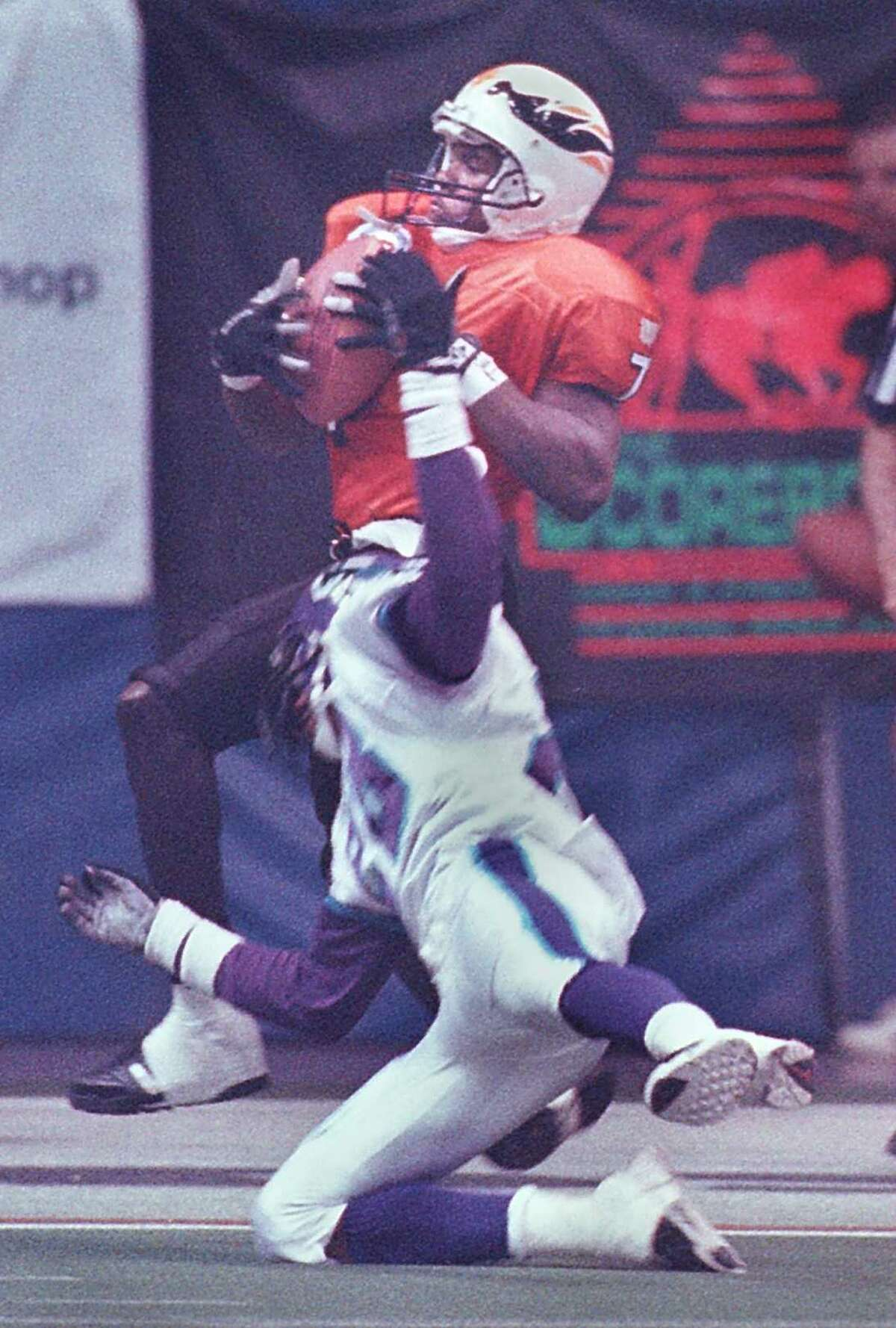 David Patten caught on with the Albany Firebirds in 1996 before going on to a 12-year NFL career. (Times Union archive)