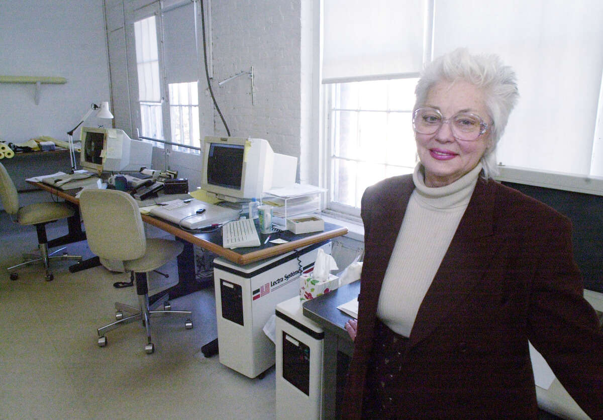Ursula Garreau Rickenbacher, founder and owner of Ursula of Switzerland, the Waterford, N.Y. dressmaker died on Wednesday, Sept. 1, 2021 at age 88. She's pictured in 2001 at her Waterford factory with the Lectra System, a computerized pattern making system in the background. (James Goolsby/Times Union)