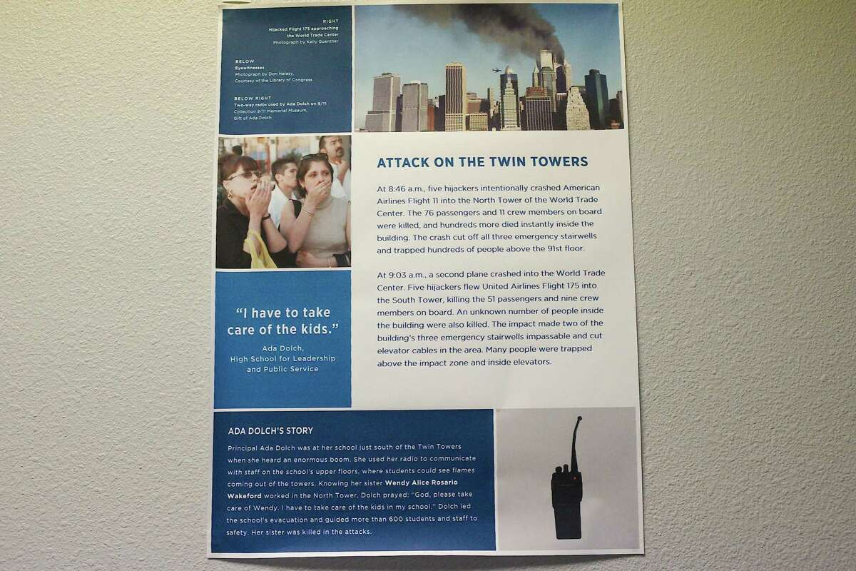 Posters produced by the 9/11 Memorial & Museum are on display throughout September at the Manvel Public Library in memory of the 2001 9/11 terrorist attacks.