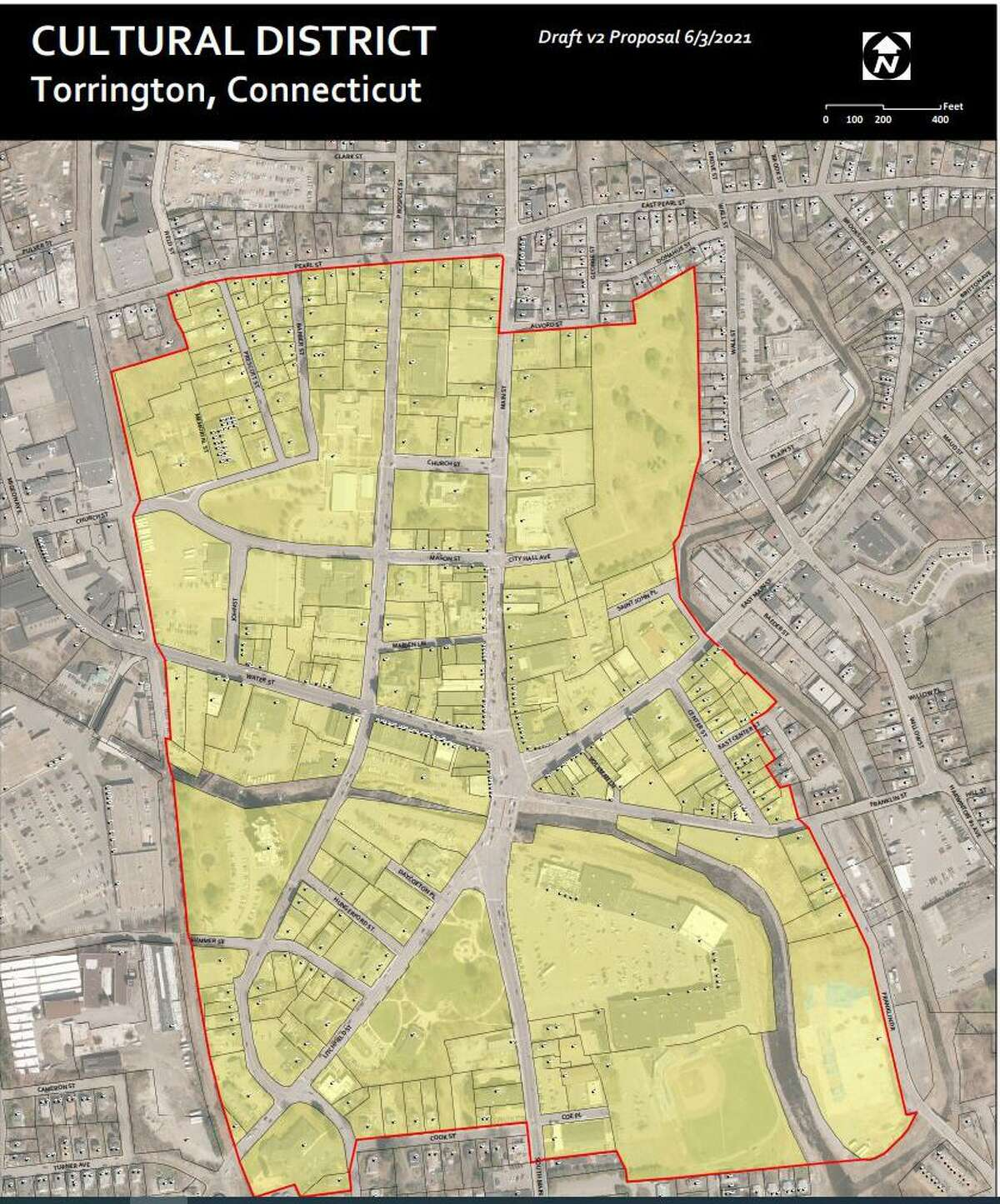 Torrington is applying to the state to establish a cultural district downtown. Pictured is a screenshot of the proposed area in Torrington.