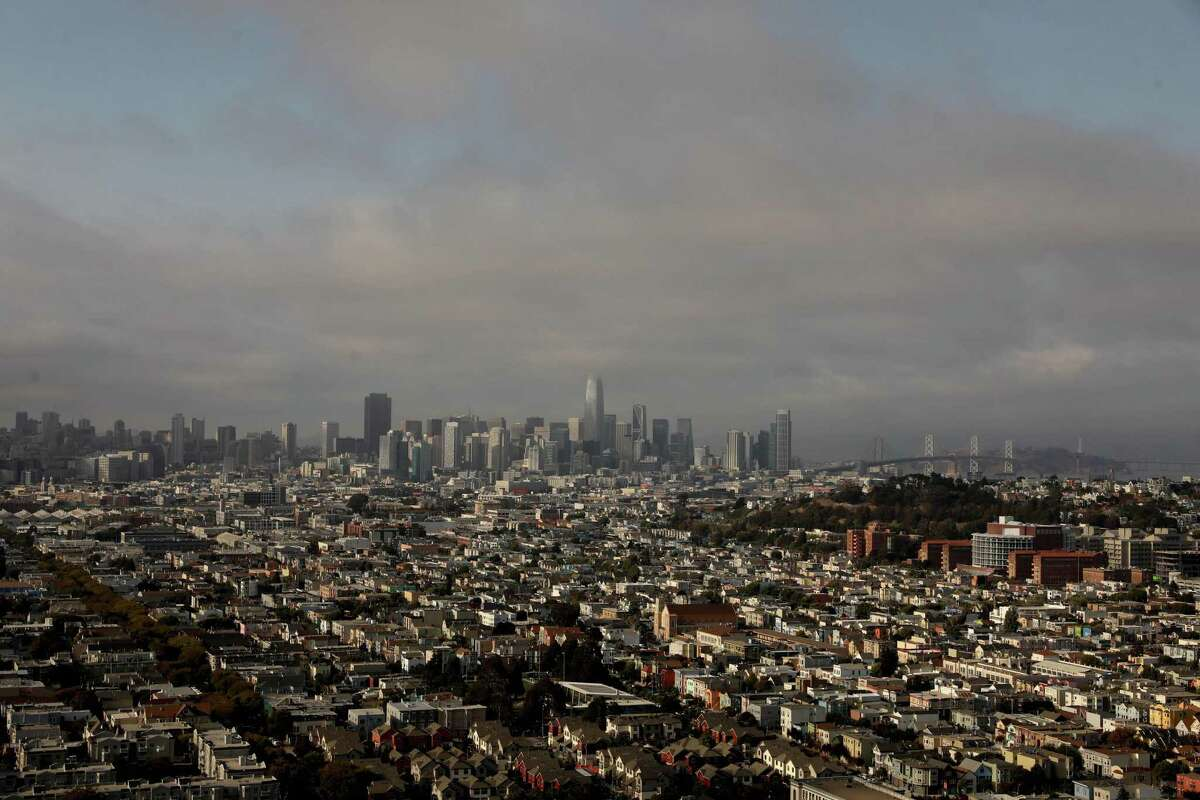 The San Francisco skyline. Smoke from the Caldor Fire and other blazes burning across Northern California will continue affecting Bay Area air quality through the long weekend.