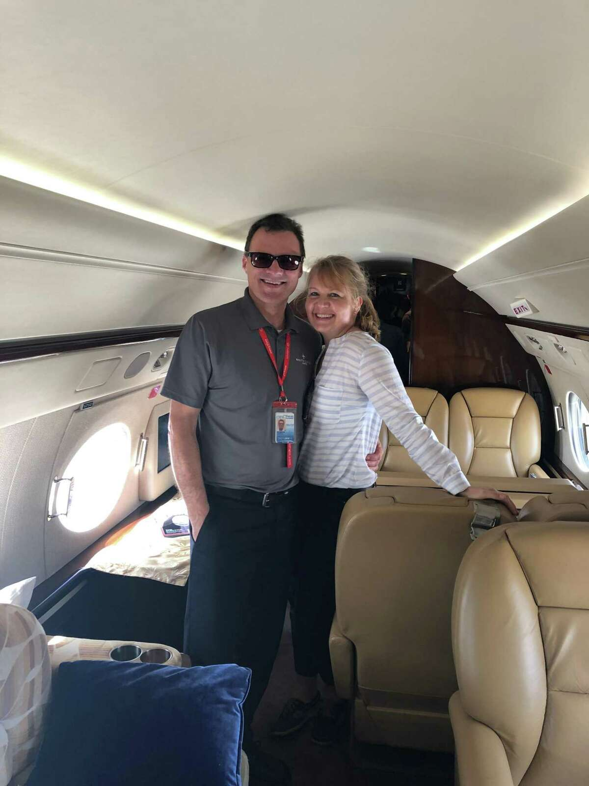 Mark Morrow, left with his wife, Dunja Morrow, right. Pilot Mark Morrow, 57, of Danbury, was one of four people killed in a plane crash in Farmington on Thursday, Sept. 2, 2021.
