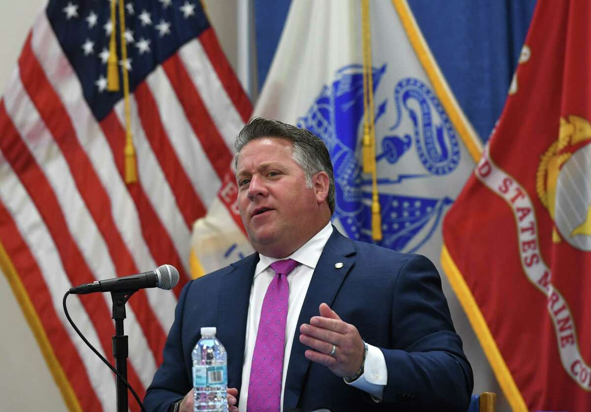 Albany County Executive Dan McCoy holds a coronavirus news briefing on Friday, Sept. 3, 2021, at the county office building in Albany, N.Y. He announced on Monday, Sept. 6, 2021, that the pandemic took another life, brining the count death toll to 398.
