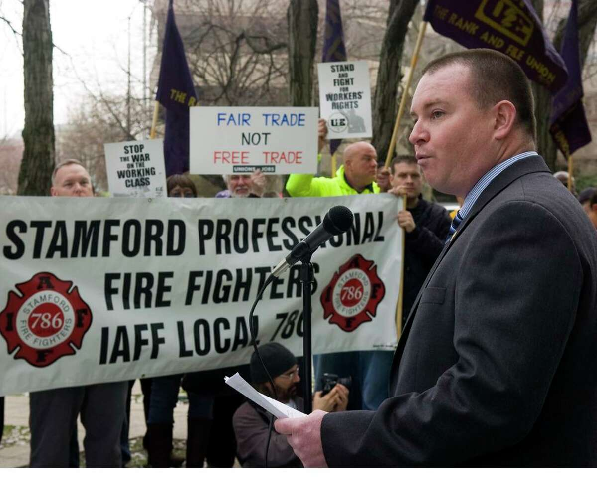 Stamford Professional Fire Fighters Association former president Brendan Keatley in 2011.