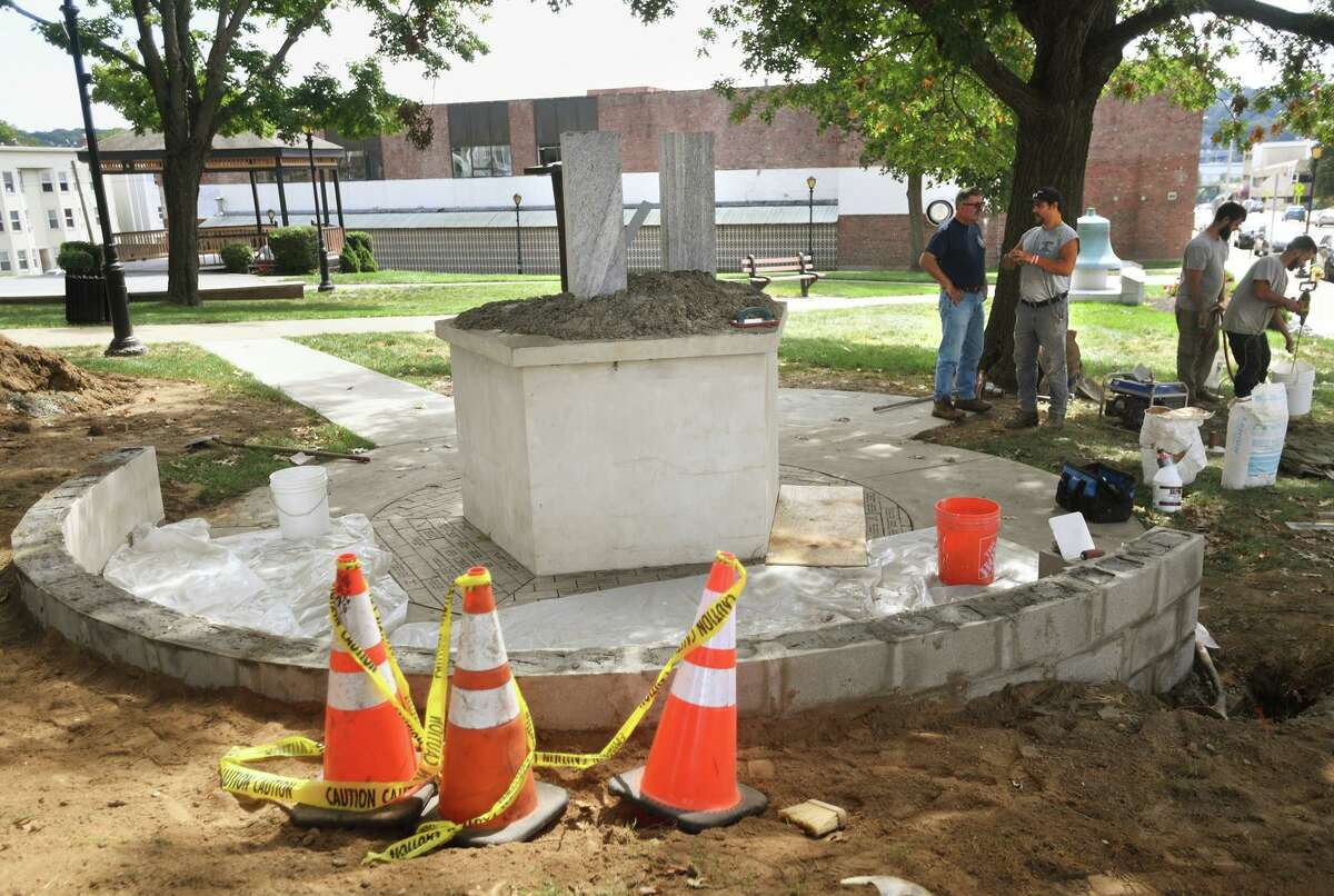 Work progresses on additions to the 9/11 memorial on the Green in Derby, Conn. on Tuesday, Aug. 31, 2021.