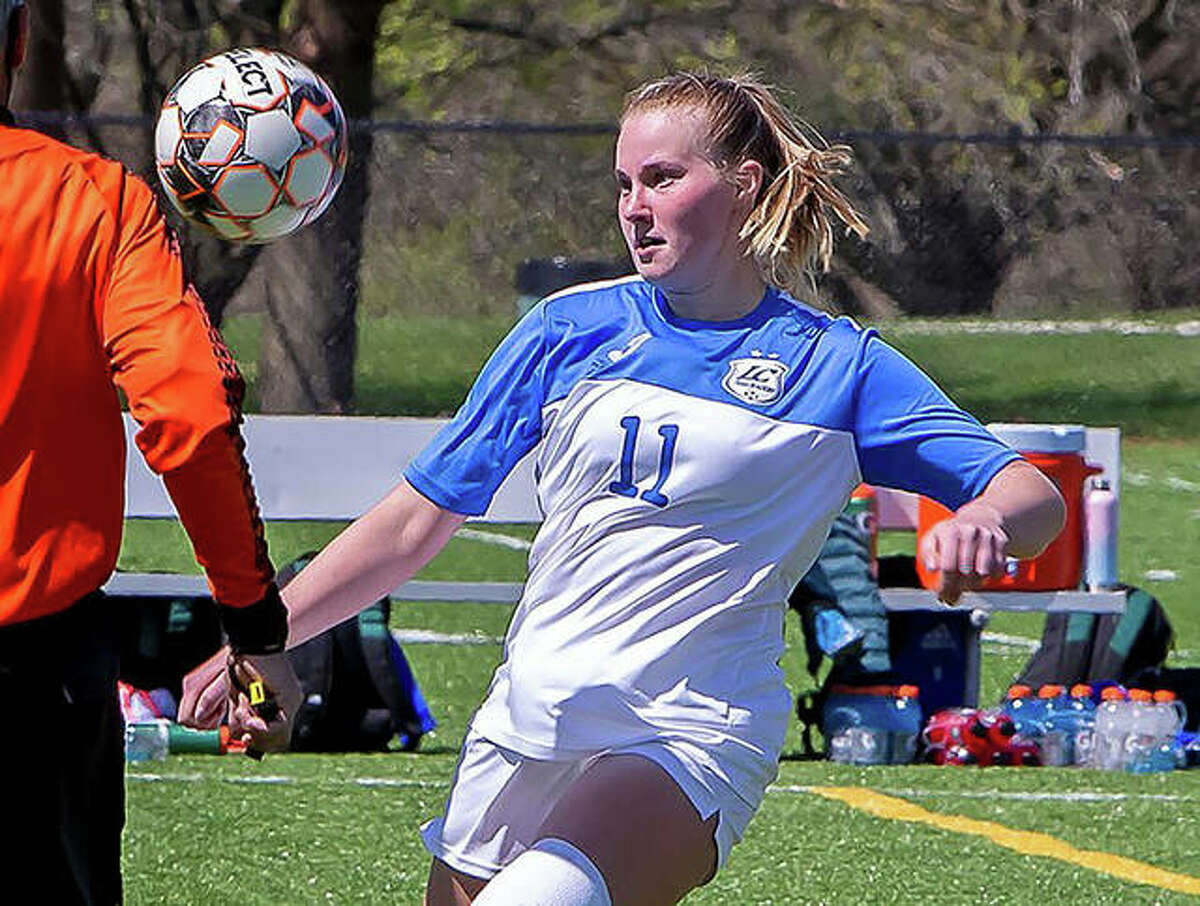 LCCC's Candice Parziani eyes the ball during action against Eastern Florida State College in April. Parziani, who earned NJCAA First-Team All-America honors as an LCCC freshman, graduated last spring from Lewis and Clark and is a junior on the Missouri St. Louis women's soccer team.