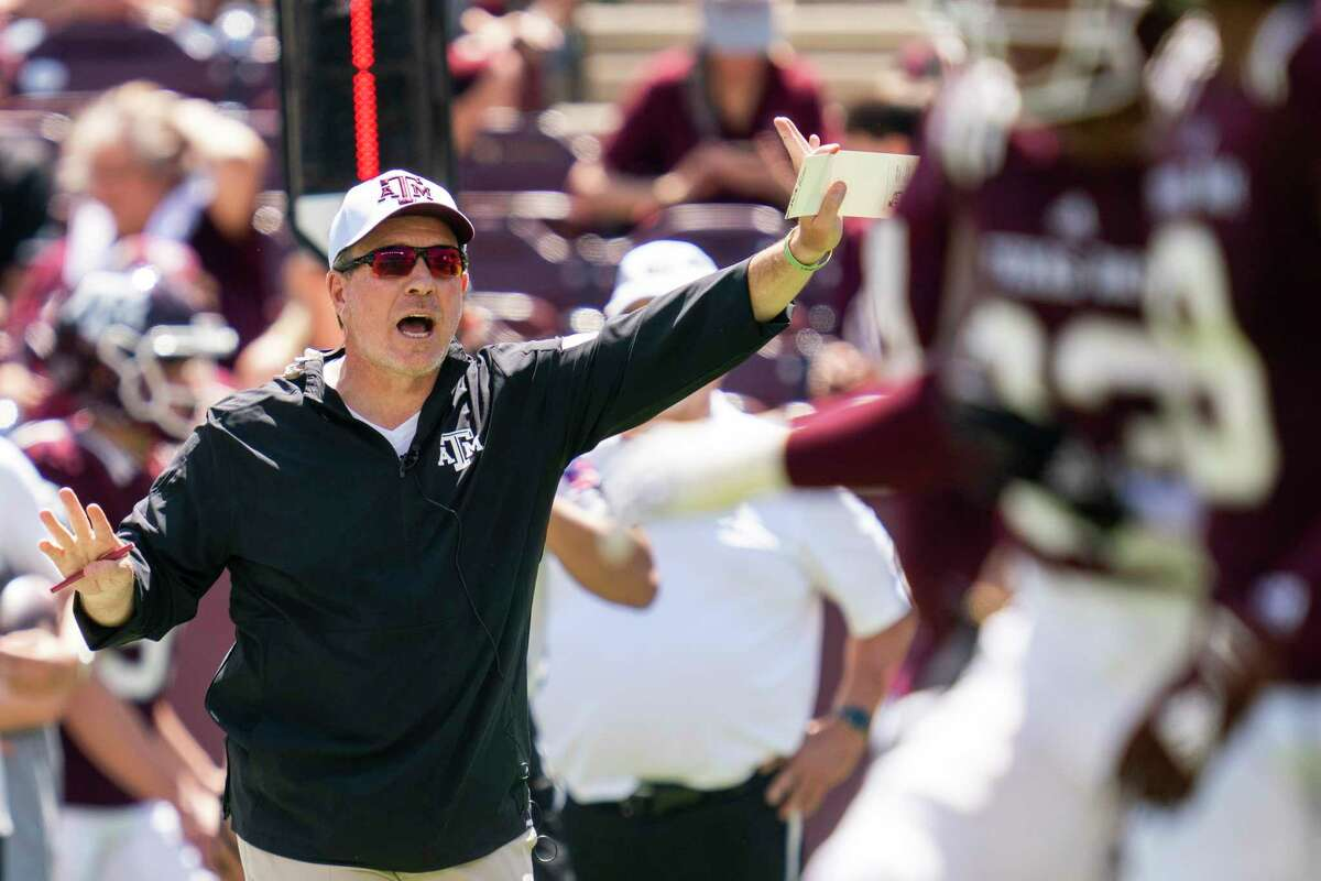 Texas A&M head coach Jimbo Fisher yells to his offense during the Texas A&M Maroon and White Spring game in College Station, Texas on Saturday, April 24, 2021. (Sam Craft)