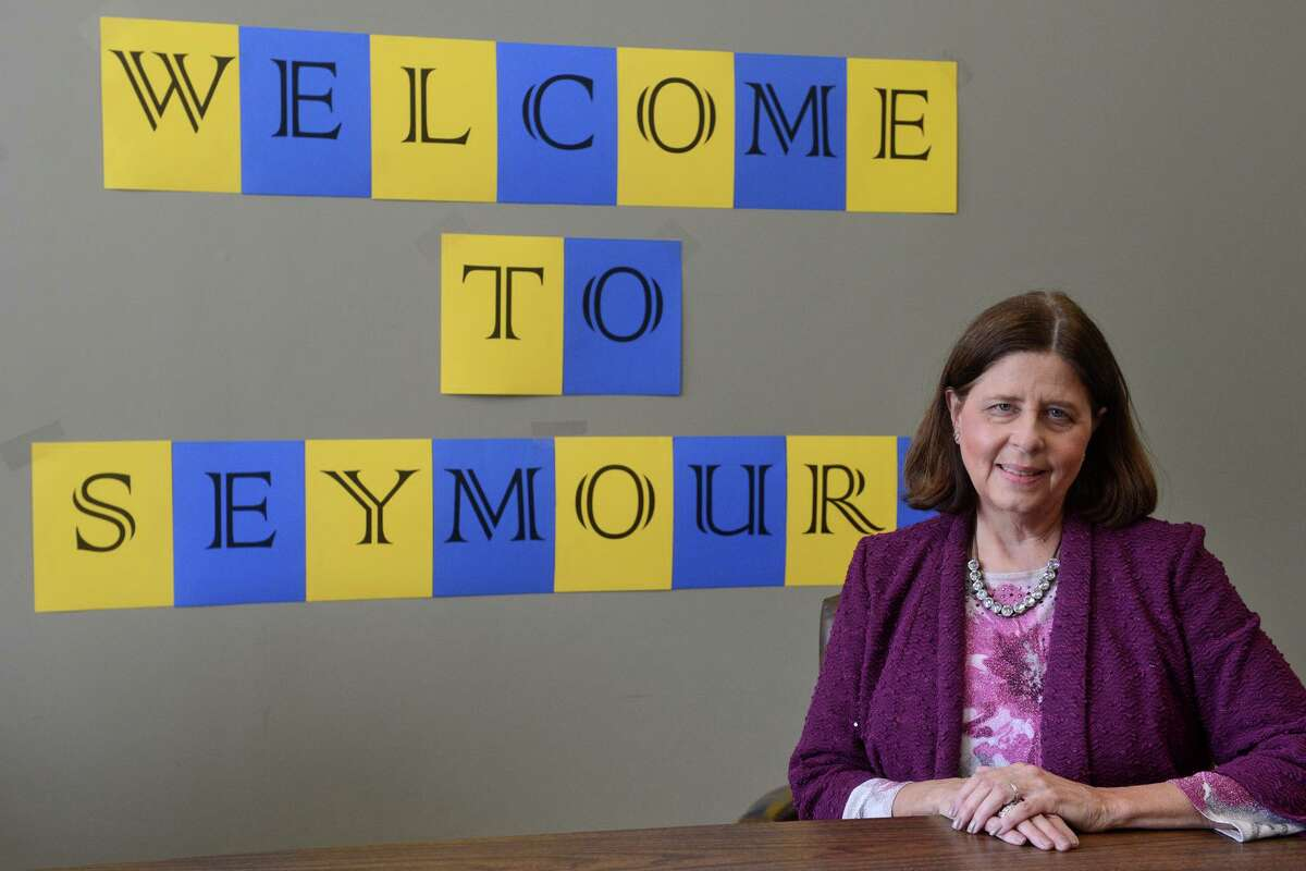 Susan Compton, Seymour's the new Superintendent of Schools, poses in Seymour, Conn. Sept. 2, 2021.