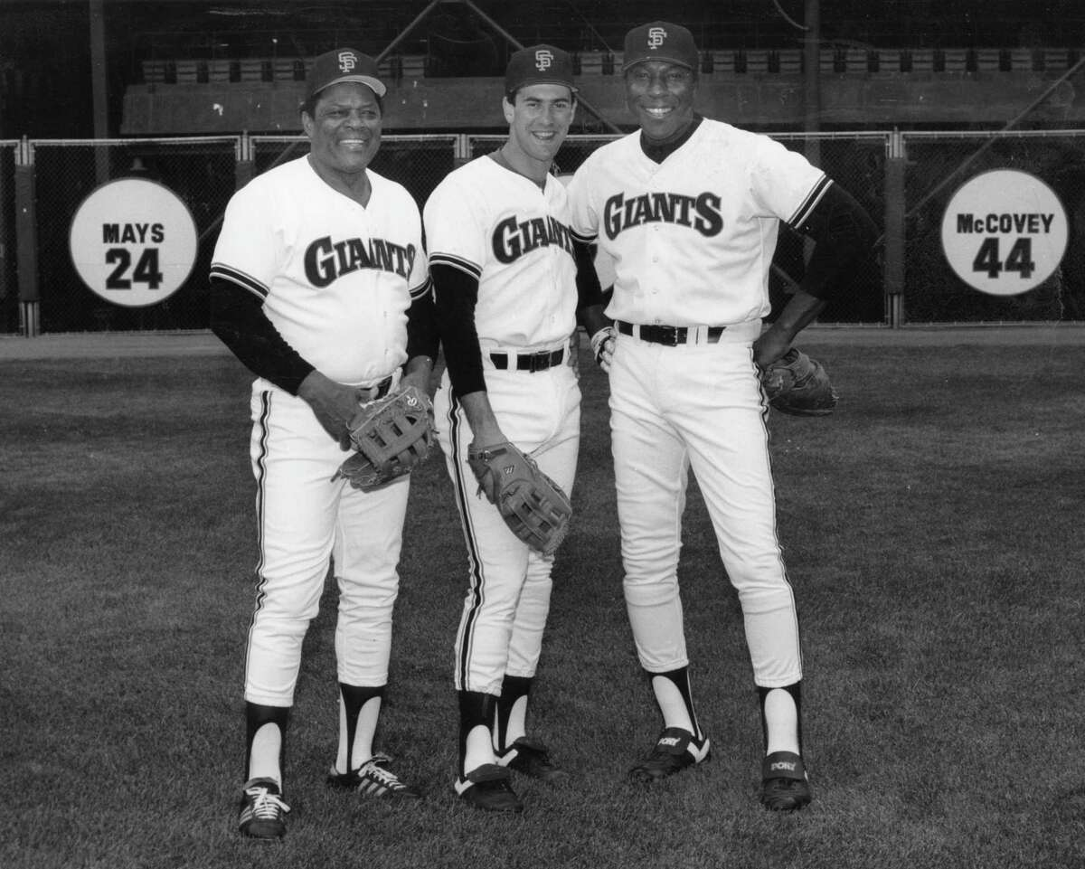 Giants greats (l to r) Willie Mays, Will Clark, Willie McCovey, May 1, 1986 Photo ran May 5, 1986